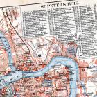 St. Petersburg Russia Map and City Guide 1903 Steel Vintage Edwardian Engraved Cartography To Frame