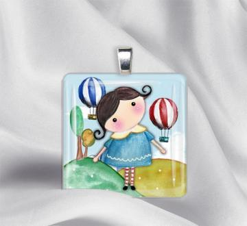 Matilde in Blue Glass Tile Pendant