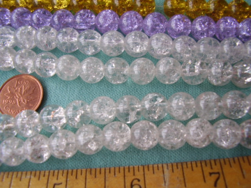BEADS Crystal Clear Crackle glass - 9-10 mm  (20)