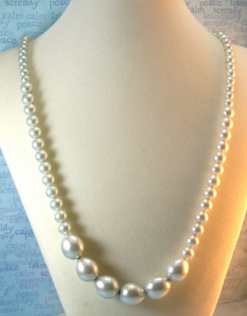 Graduated Light Blue Pearl Necklace