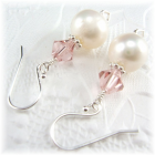 Freshwater Pearl and Crystal Heart Earrings