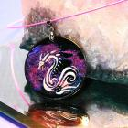 Mystic dragon wood pendant with silver bail and pink necklace hand painted