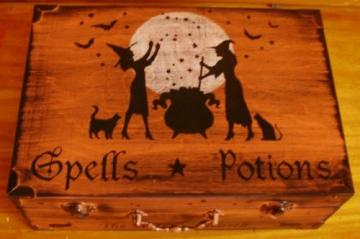 Primitive Halloween Decorations witches Spells Potions box chest Witchcraft black cats Pagan Decor