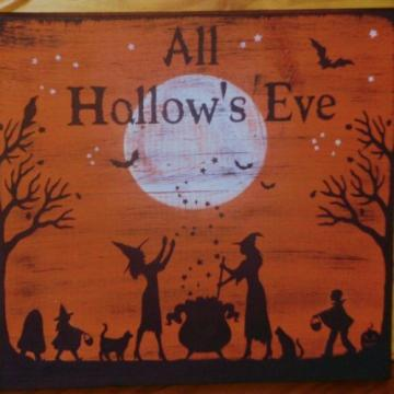 Halloween Signs Plaques Primitive Trick Or Treat Witch Decoration Cats