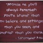 Winnie the Pooh Sign Promise Me Plaque Christopher Robin You&#039;re Stronger Braver Smarter Than you think Nursery New baby gift