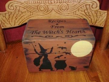 Primitive Recipe Box Witches Witch Witchcraft Halloween Folk Art Black Cats Baking Hearth Witch's Kitchen Witch Pagan Wiccan Magic