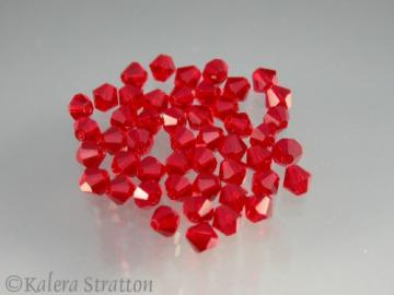 48 pcs Ruby Czech Preciosa Faceted Crystal Bicone 4mm