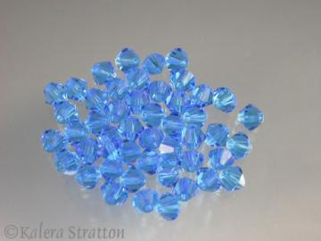 48 pcs Capri Blue Czech Preciosa Faceted Crystal Bicone 4mm