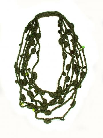 Olive Green Lariat OOAK Crochet Necklace