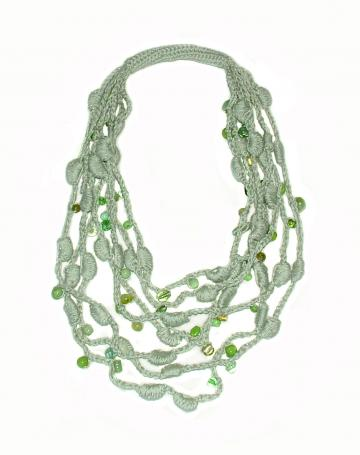Sage Green Lariat Necklace OOAK Crochet