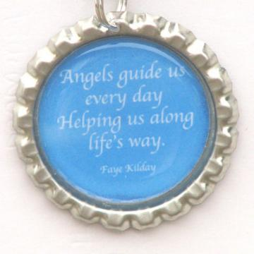 Angels Guide Us Poem Bottle Cap Pendant
