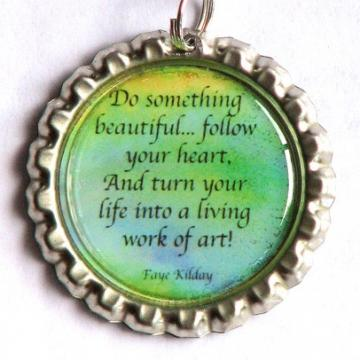 Follow Your Heart Bottle Cap Poem Pendant