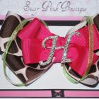 Choose your Letter, Sassy Giraffe print Hair-bow Clip