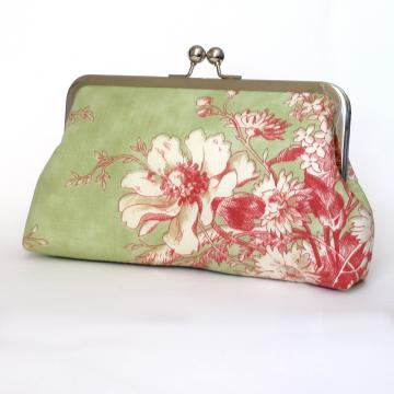 Silk Lined Pink and Green Floral Frame Kisslock Clutch