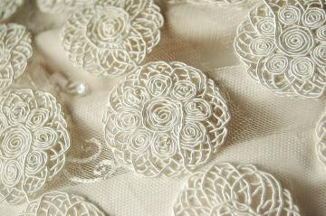 Swirly Soutache Gimp Medallion trim in Soft White 2.25 inch wide