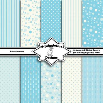 Blue Showers   Digital Printable Paper for Cards, Crafts, Art and Scrapbooking Set of 10