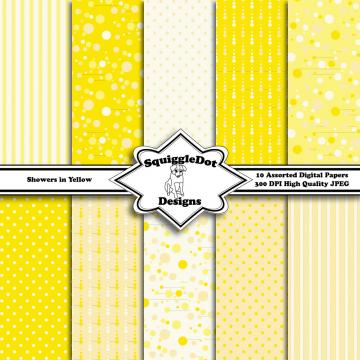 Showers in Yellow   Digital Printable Paper for Cards, Crafts, Art and Scrapbooking Set of 10