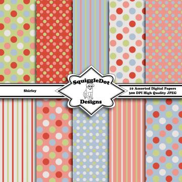Shirley   Digital Printable Paper for Cards, Crafts, Art and Scrapbooking Set of 10