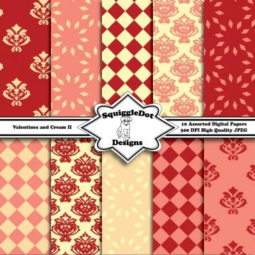 Valentines and Cream II   Digital Printable Paper for Cards, Crafts, Art and Scrapbooking   Set of 10
