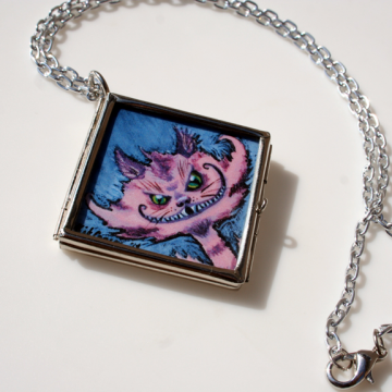 Large Cheshire Cat Glass Locket by Kit Cameo on Zibbet