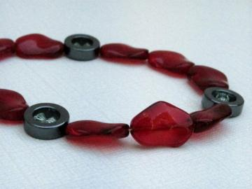Hematite & Ruby Red Glass Bracelet
