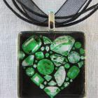 Emerald  Green Gemstones Heart Glass Tile Pendant
