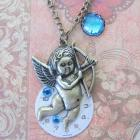 Steampunk Necklace Pendant Victorian Blue Cupid