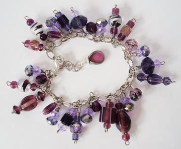 Grape Jelly Purple Glass Beaded Bracelet