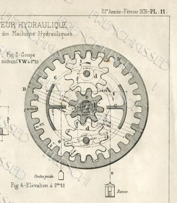 DIGITAL scan  STEAMPUNK blueprint Gears Antique FRENCH Elevator Motor