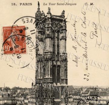 French SCRIPT PARIS church tower Gothic Architecture France ANTIQUE Postcard Digi Sheet