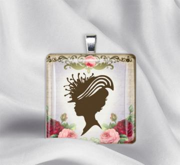 Silhouette with Roses 014 Glass Tile Pendant