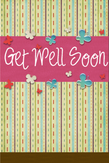 Sweet Butterfly Get Well Soon 2 5x7 Card