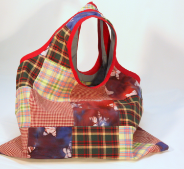 Reusable Patchwork Market Tote, Grocery Shopper
