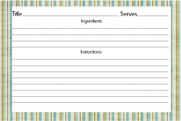 Printable Recipe Card  3 Size choices (blue strip)