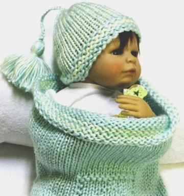 Hand Knitted Baby Cocoon with ABC Block Design With Beanie