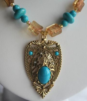 Turquoise & Glass Chain & Pendant Necklace