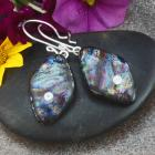 Fused Dichroic Glass and Sterling Silver Earrings with Faceted Cubic Zirconias