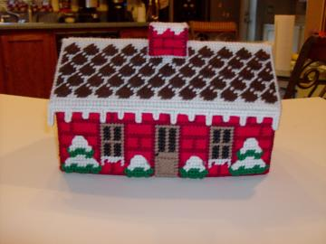 Winter Cottage Tissue Box Cover