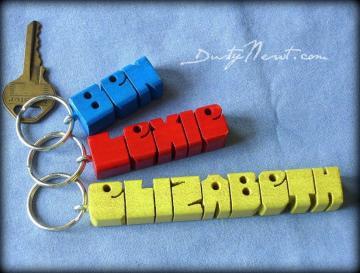Standard Name Keychain ~ Colored Maple Wood 