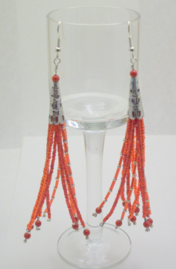Long Red and Silver Beaded Dangle Earrings