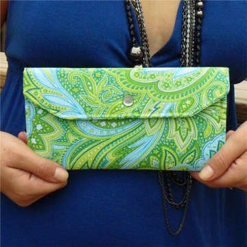 Slim Paisley Wallet - Blue and Green
