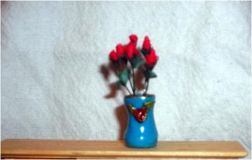 One Inch Scale Vase with Roses
