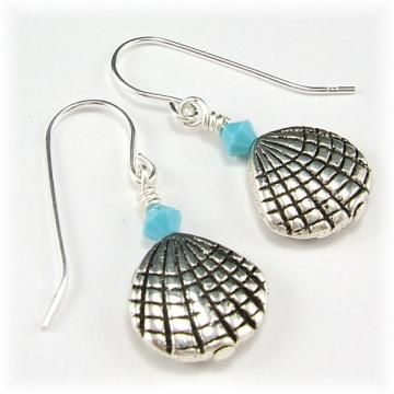 Silver Shell Opaque Turquoise Crystal Earrings