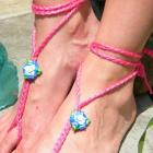 Alice&#039;s Spring Fever Flower Garden Toekini - barefoot sandal anklet hot pink