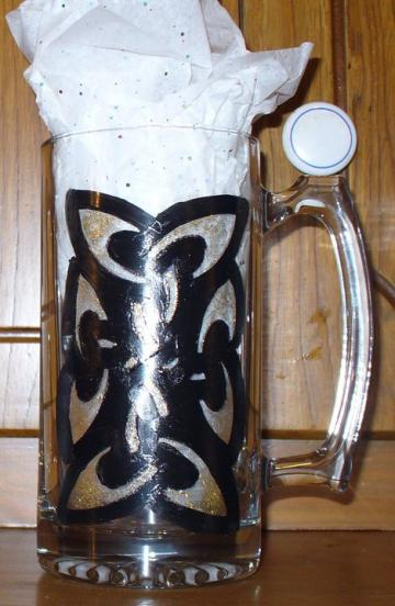 Celtic knotwork hand painted beer mug