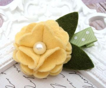 Yellow Wool Felt Flower Hair Clip