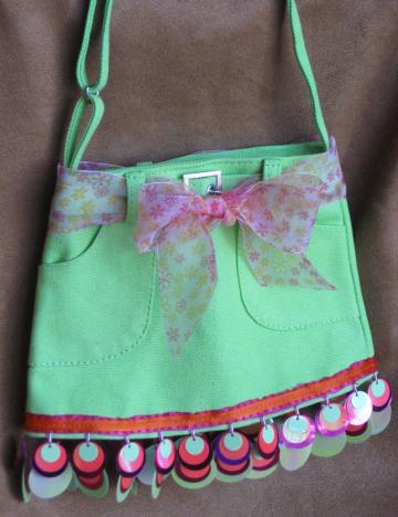 Hand Embellished Lime Green Skirt Purse/Bag with Sequins