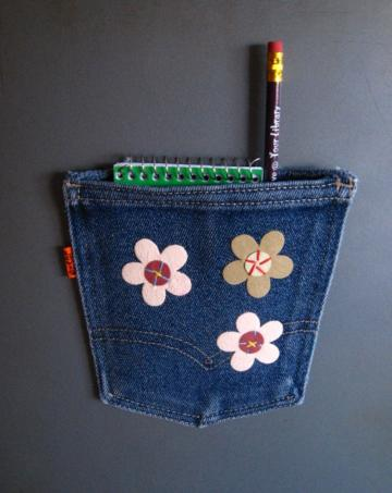 Magnetic Embellished Repurposed Denim Jean Pocket with Suede Flowers