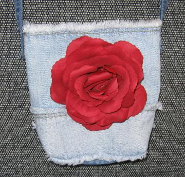 Small Lined Repurposed Red Rose Denim Jean Purse