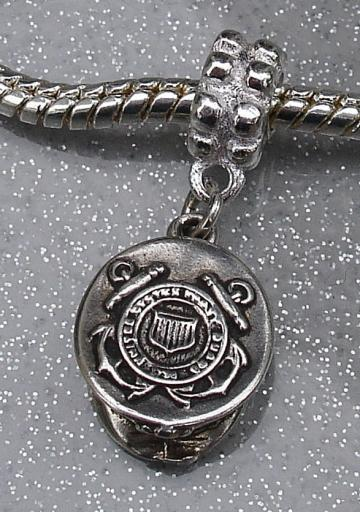 Sterling Silver European Charm Bead - COAST GUARD CAP